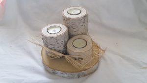 Baumscheibe mit Teelichthalter aus Birke